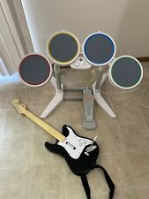 Nintendo Wii Harmonix Wired Rockband Drum Set With Pedal and Guitar No Dongle