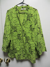 CATO Woman Multi-Color Semi-Sheer Floral & Leaf Design Blouse, sz 22/24W