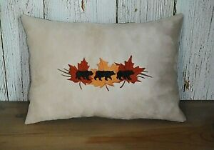 Fall Bears Embroidered Pillow, 12 x 8 Inches, Lodge Decor, Handmade Pillow