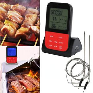 Digital Bratenthermometer Funk Grillthermometer Fleisch Thermometer mit 2 Fühler