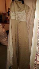 VINTAGE ?WEDDING/BRIDESMAID DRESS FOREVER YOURS DARK BEIGE SILKY STRAPLESS 34 CH