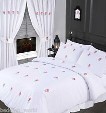 KING SIZE BED BLUSH PINK DUVET COVER SET EMBROIDERED FLORAL ROSE GREEN WHITE