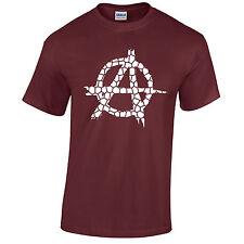Anarquía Camiseta Hombre Anarchic Rebelde Envejecido Vintage Roto