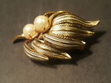 """14k Gp & Silver Plate Finishes. Signed """"Spain"""" Dual-flower Brooch Resin Pearls"""