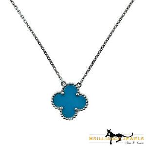 Van Cleef & Arpels Turquoise Vintage Alhambra Single Motif Pendant Necklace