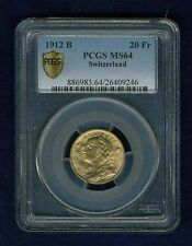 SWITZERLAND REPUBLIC  1912 20 FRANCS GOLD COIN UNCIRCULATED, CERTIFIED PCGS MS64