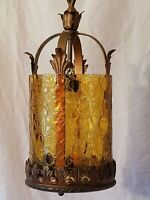 Antique/Vtg Gothic Medieval Crackle Glass Foyer Chandelier Light Fixture