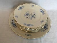 7 Pc. Mitterteich Rhapsody in Blue 6 Bread Butter & 1 Dinner Plate Germany 9245