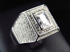 Mens Simulated Lab Diamond Stylish Emerald Cut Solitaire in ring White Finish