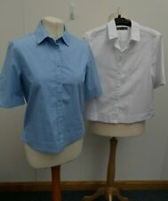 X2 M&S Short Sleeve Blue & White Cotton Mix Shirts/Top/Blouse Size UK 10