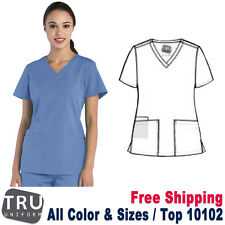 Tru Uniform Scrub Women's Two Front Patch Pockets Curved V-Neck Top 10102