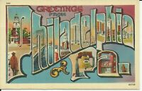 Greetings From Philadelphia Large Letter Linen Postcard