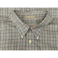 Men's Eddie Bauer Shirt XL Brown Blue Plaid Long Sleeve Button Down Cotton