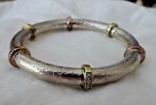 Silpada Bracelet Textured Sterling Silver CZ B2381 RADIANCE BANGLE MSR $199