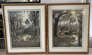 Ben Essenburg Large Lithograph Diptych Pair Signed Numbered Florida Naturalism