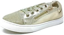 Kids Childrens Girls Gold Trainers Shiny Canvas Pumps Size 9-3