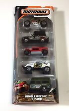 MATCHBOX ON A MISSION - JUNGLE RECON  JEEP - LAND ROVER -  5 CAR PACK 2013 NEW