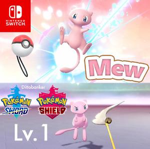 Pokemon Sword/Shield Pokeball Plus Mew Lv.1 Timid Mythical Digital Transfer