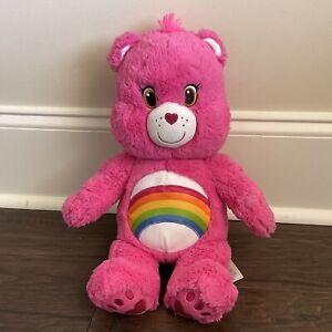 """Care Bears Build A Bear Pink Cheer 17"""" Sings Plays Care Bear Tune Rainbow"""