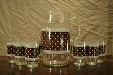 Vintage Glass Pitcher & Juice Glasses Brown Polka Dot Rick Rack 9 Pieces AWESOME