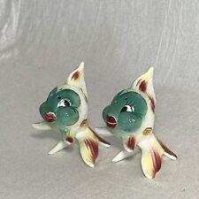 Vintage Anthropomorphic Ceramic Koi Fish Salt Pepper Shakers Japan