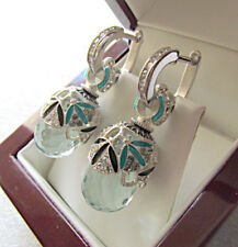 SALE ! STUNNING RUSSIAN AQUAMARINE MADE OF SOLID STERLING SILVER 925 EARRINGS