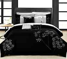 King Size Bedding Black Floral 8-piece Embroidered Comforter Set Bedroom Bed New