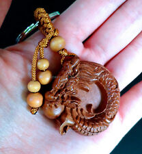 Fancy wood keychain hand crafted dragon strength good fortune Feng Shui