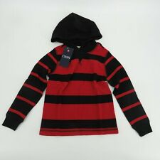 Chaps Boys Red Black Striped Thermal Hoodie 5