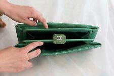 VERIFIED Authentic Chanel Green Python Clutch Evening Bag