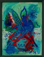 Abstrakte Kunst Hans Thelen  *1956 / Zebra ,datiert 95 Tanzende Moderne Kunst  x