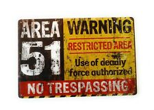 Vintage Retro Reproduction Area 51 Do Not Enter Warning Funny Metal Tin Sign