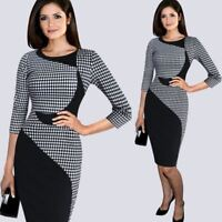 Women Black and White Check Office Pencil Bodycon Dress Three Quarter Sleeve