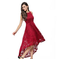 Women lace Sleeveless Hi-Lo Vintage Floral Cocktail Formal Swing Dress