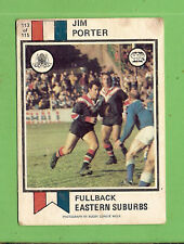 #D366. 1974 EASTERN SUBURBS SCANLENS RUGBY LEAGUE CARD #113 JIM PORTER