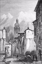 AUTRICHE (TYROL) - RUE d'INNSBRÜCK (SKI ALPIN) - Gravure du 19e siècle