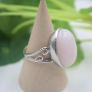 Sterling S925 Silver Pink Opalite Ring Women Luck Oval Smooth Ring US7