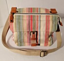 Fossil Multi-Color Striped Cotton Canvas w/Lthr Trim Crossbody Bag Organizer VTG