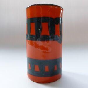 "Vintage Italian pottery 4"" vase. Orange & black art ceramic, mid century Italy."