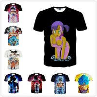 Mens Womens 3D Print Dragon Ball Z Vegeta Goku T-Shirts Casual Tees Anime Shirts
