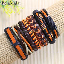 PotaMalat 6pcs Handmade Vintage Braided Genuine Leather Bracelet Wristband-D90