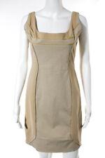 Zac Posen Tan Brown Cotton Sleeveless Sheath Dress Size 12