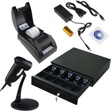 USB POS Thermal Receipt Printer Set Electronic Cash Drawer Barcode Scanner Stand
