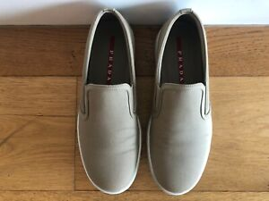 Pre-owned Men's Prada Khaki Slip-on Shoes