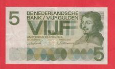 NETHERLANDS - HOLLAND - 5 Gulden Banknote 1966 - 1st VONDEL type XF  LOOK!!