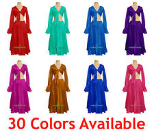 Satin Skirt + Top Set Belly Dance Tie Ruffle Dress Flamenco Tribal Full Circle