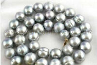 AAA+ 11-12MM South Sea gray Baroque Pearl Necklace 14k GOLD CLASP 18""