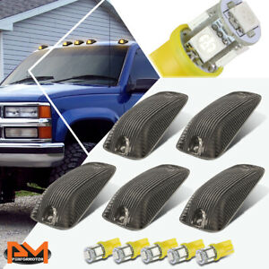 5-Piece Cab Roof Running Light Smoked Housing Yellow LED For 88-02 Chevy/GMC C/K