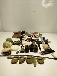 Vintage military  Action Figure Accessories 27 Pieces 2 helmets, canteen,