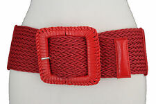 Women Red Elastic Fashion Wide Belt Stretch Hip High Waist Big Square Buckle S M